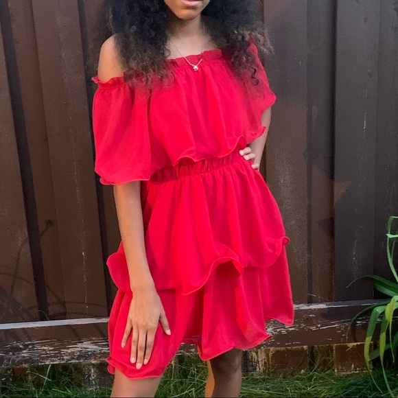 Prettylittlething Red Mini Frill Spanish Dress